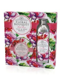 Floral Bouquet Talc & Soap Medley - Red Rose - Gift Set