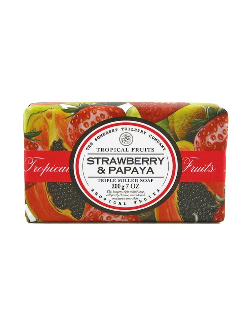 An image of Tropical Fruits Triple Milled Soap Bar - 200g (Fragrance: Strawberry & Papaya)
