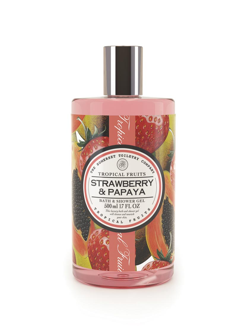An image of Tropical Fruits Bath & Shower Gel - 500ml (Fragrance: Strawberry & Papaya)