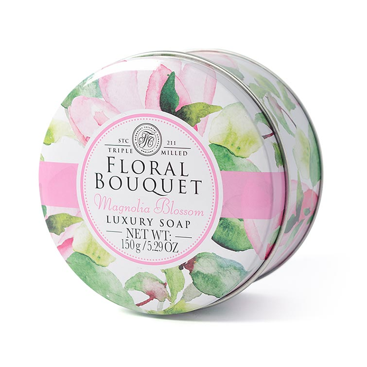 Floral Bouquet Triple Milled Soaps In Tins - Magnolia Blossom