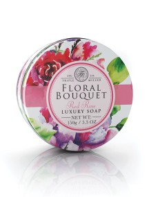 Floral Bouquet Triple Milled Soaps In Tins - Red Rose