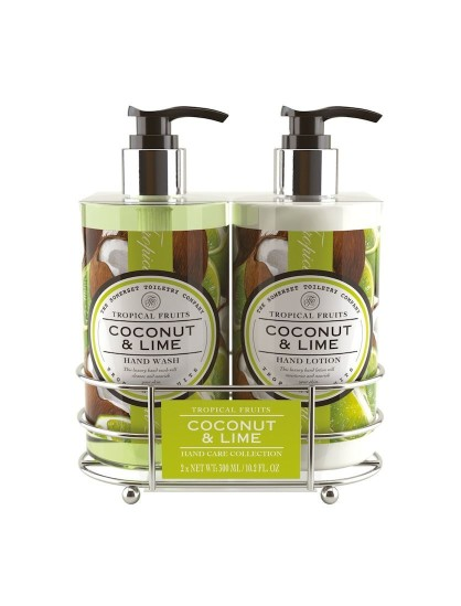 Hand care caddy tropical fruits hand wash hand lotion Hand wash and lotion caddy