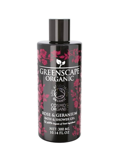 Greenscape Organic Shower Gel - Rose and Geranium - Soil Association - Cosmos Organic