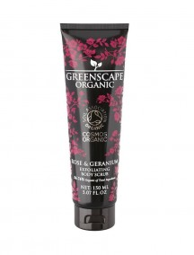 Greenscape Organic Exfoliating Body Scrub - Rose and Geranium - Soil Association - Cosmos Organic