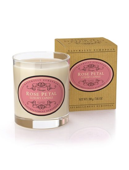 Naturally European Luxury Scented Candle Rose Petal