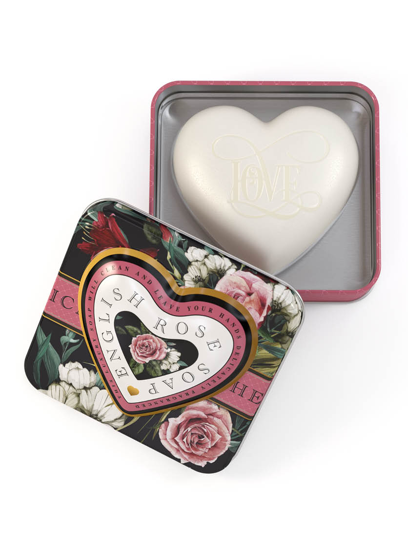 Heart Soap In Tin English Rose