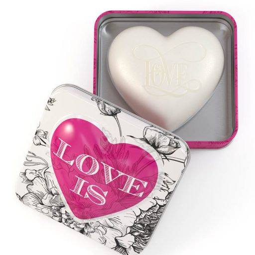 Heart Soap In Tin Rose Petal Love Is