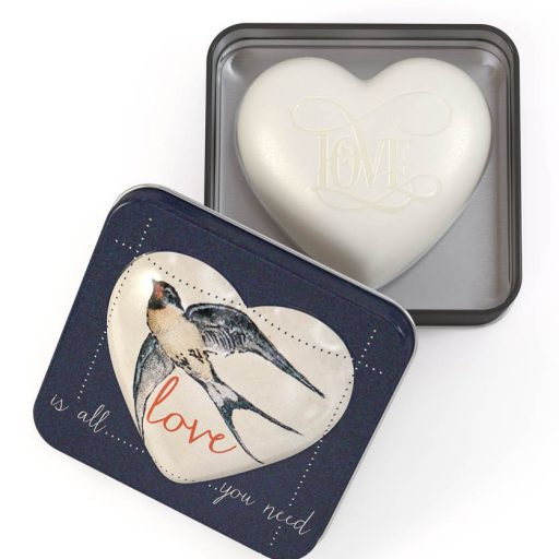 Heart Soap In Tin Strawberry and Papaya Love Is All You Need