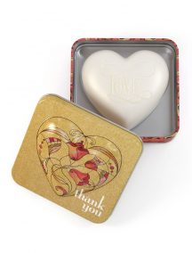 Heart Soap In Tin Strawberry and Papaya Thank You