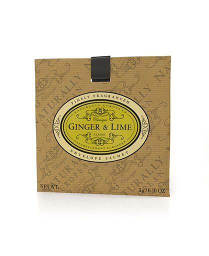 Naturally European Fragranced Envelope Sachet Ginger & Lime