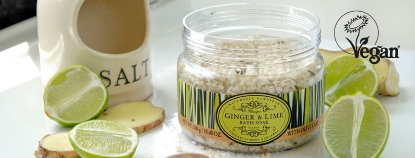 Naturally European vegan Bath salts ginger & Lime