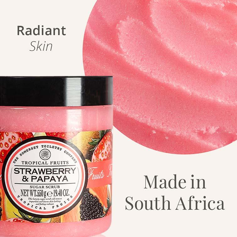 Tropical Fruits 550g Sugar Scrub - Texture - Strawberry & Papaya